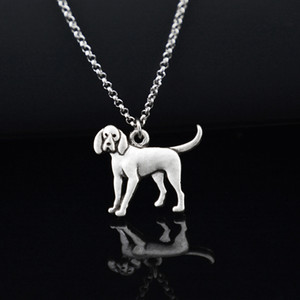 Wholesale Antique Silver Coonhound Dog Pendant Stainless Steel Chain Necklace Boho Unique Animal Chocker Fashion Accessories jewelery Women Necklace