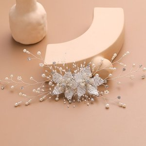 Wholesale Bride Wedding Hair Clips Head Ornaments Charm Artificial Pearl Headdress Hair Accessories Rhinestone Weave Women Jewelry M0XF