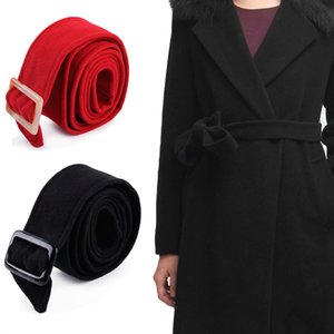 175x5cm Unisex Faux Wool Belt Waistband Wrap Woolen Sash Tie Fashion Wool Buckles for Trench Coat Overcoat Accessories