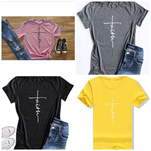 Faith Fashion Street Short Sleeve Letter Simplicity Pure Color T Shirt Men And Women Popular Soft Clothes 12ml I1 on Sale