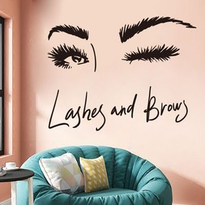 Wholesale Beautiful Girl s Eye Outline Wall Stickers Decorative Beauty Salon Wall Decals Vinyl Removable Eyelashes Makeup Wallpaper