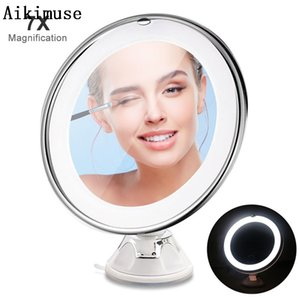 Wholesale LED Lights Mirror Folding x Magnification Makeup Mirror Compact Stand Hand Cosmetic Woman Pocket Mirrors Makeup Tool
