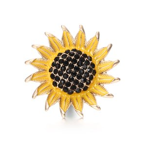 Wholesale 10pcs High Quality mm Alloy Sunflower Fashion Snap Button Bracelet Charm Rhinestone Button ginger Crystal Snaps Jewelry