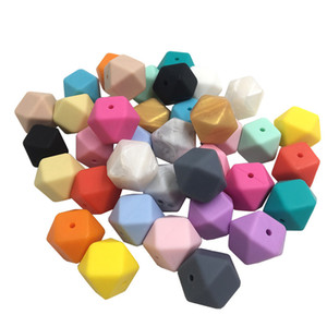 Wholesale 17mm Geometric hexagon Beads Silicone Loose Beads Baby Teether Necklace Chain Pendant Accessories bpa Free BPA Free food grade non toxic