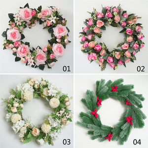 Wholesale artificial hawaiian flower garland resale online - 31cm Door Wreath Large Garland Artificial Flower Wreath Wall Hanging Door Decoration Home Decoration Farmhouse Decor Hawaiian