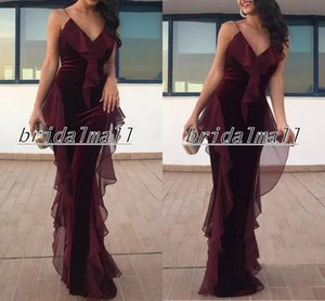 Wholesale Mermaid Sexy Velvet Burgundy Prom Dresses 2020 Spaghetti Ruffles Chiffon Elegant Formal Evening Dresses Long Party Celebrity Pageant Gowns