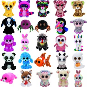 Wholesale Pyoopeo Ty Beanie Boos quot cm Dog Bird Fish Bunny Penguin Raccoon Lamb Plush Big eyed Stuffed Animal Doll Toy with Heart Tag