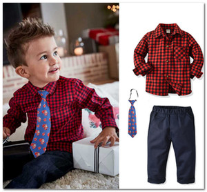 Wholesale Christmas boys party outfits spring kids plaid shirt santa claus printed tie casual pants sets children s day performance clothes J2052