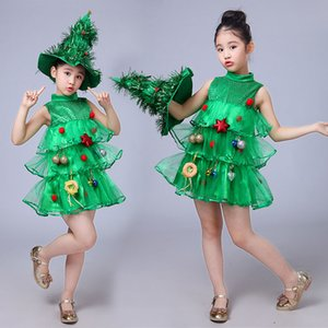 Wholesale Girls Kids Green Tree Hat Dress cosplay Halloween Costume Dresses Tops Party Outfits costumes Purim Elf Cosplay Christmas