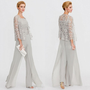 Wholesale 2020 Mother of The Bride Dresses Two Pieces Lace Jackets Mothers Dresses For Wedding Events Pants Suit Evening Gowns