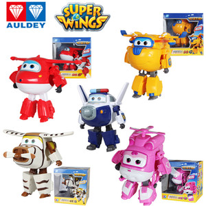 AULDEY Transforming Robots Super Wings Action Figure Toy Dizzy Donnie Paul Bello 8 Steps Transformation Toys Robot Kids Gifts 3T+