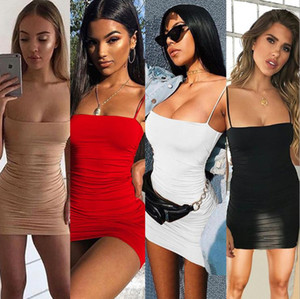 Sexy Club Dress 2019 Summer Women Skirt Solid Color Sling Pleated Hip Dress Fashion Dresses for Womens