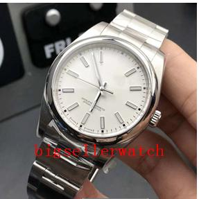 Wholesale steel suppliers resale online - Factory Supplier Top quality Luxury Wristwatches Sapphire Perpetual mm No Date Domed white Dial Automatic Mechanical Mens Watches
