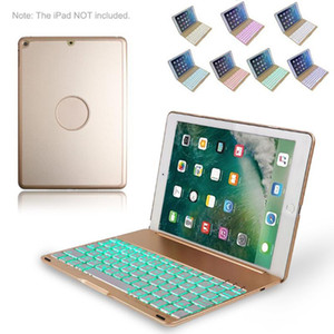 Bluetooth Keyboard Case for iPad 2018 iPad 2017 iPad Air 1 with 7 Colors LED Backlit Wireless Keyboard Smart Folio Stand Cover on Sale