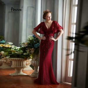 Wholesale Finove New Design Evening Dress Long Floor Length Burgundy Sexy Deep V Neck Backless Embroidery Woman Dress Gown Plus Size