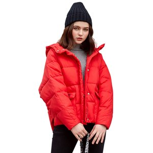 Wholesale Winter Women Hooded Jacket Pure Color Short Cotton Padded Coat Loose Thickened Maternity Outerwear Pregnancy Parka