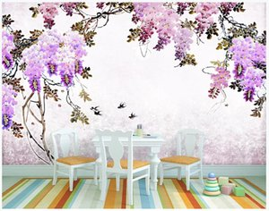 Wholesale romantic wallpaper new for sale - Group buy Customized d murals wallpaper photo wall paper Romantic flower mural new Chinese antique Chinese painting background wallpaper for walls d