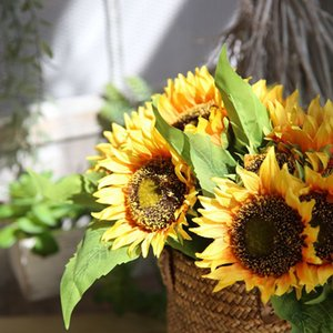 Wholesale Artificial Sunflower Bouquet Autumn Silk Artificial Sunflower Flowers Bouquet For Home Decoration Office Party Garden Decor
