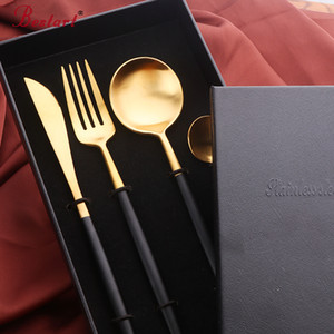 Luxury cutipol cutlery with gift box 304 stainless steel western black dinner knife forks sets western dinnerware set for party T200430