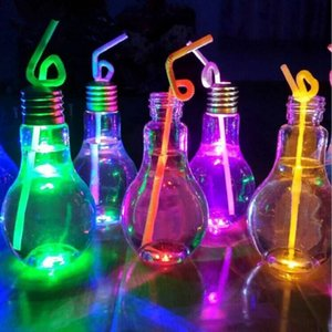 Wholesale light bulb beverage bottle milk tea bottle plastic juice bottle creative yogurt cup Luminescence cup Drinkware tools LXL1053