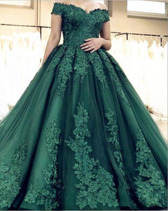 Free Shipping Ball Gown Off The Shoulder Dark Green Tulle Formal Evening Dresses Appliques Beaded Prom Dresses South African Plus Size on Sale