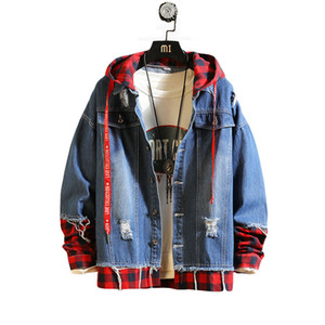 Wholesale 2019 New style fashion Slim fit Men Casual Denim Jackets Man High grade pure cotton Fake two piece Grid cowboy jacket S XXXL