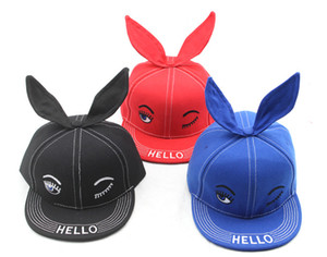 Kids Cotton Baseball Cap Cute Baby Hat with Ears Cute Rabbit Kid Sun Children Cartoon Snapback Caps Hip Hop Baseball Hat HFA734