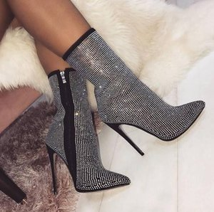 Wholesale Womens booties winter shiny rhinestone decorative side zipper pointed CM high heel boots fashion comfortable shoes women