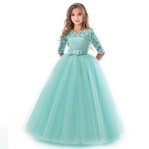 Wholesale Girls Gown Princess Skirt Prom Dresses Long Sleeve Long Skirt Bow Mesh Lace Party Dresses