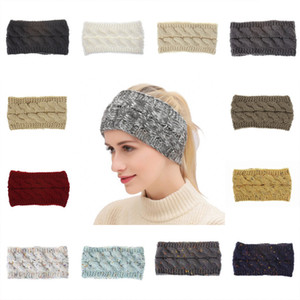 Free DHL Women Knitted Headband Winter Warm Crochet Head Wrap Wide Hair handband with Accessories hair bands For Ladies Girls Gifts M367Y