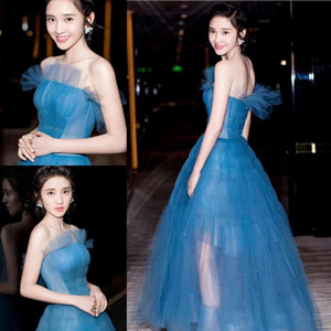 Wholesale Sexy Ankle Length Formal Evening Dresses Strapless Tulle A line Celebrity Prom Dress Art Neck Ruffle Sleeveless For Teens Sweet 16 Dress
