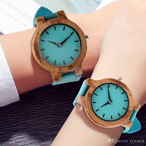 Wholesale Top Wood Watches Couple Blue Natural Bamboo Handmade Quartz Wristwatch Creative Men Women Genuine Leather Minimalist Clock Gift