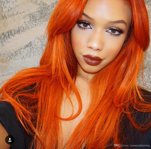 New Arrival Orange Color Long Straight Synthetic Lace Front Wigs Natural Glueless Lace Wigs for Women Heat Resistant Fiber Hair