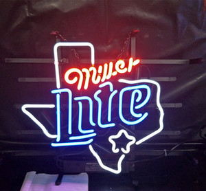 Wholesale Miller Lite Beer Led Glass Tube Neon Signs Lamp Lights Hotel Advertising Display Bar Home Decoration Sign Metal Frame