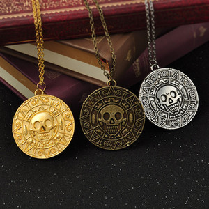 Wholesale Vintage Bronze Gold Coin Pirate Charms Aztec Coin Necklace Men Movie Pendant Necklaces for Lady Xmas Gift Fashion Jewelry C6194