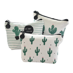 6 Colors Fashion Canvas Cactus Pencil Case Bag Stationery School Supplies Cosmetic Makeup Pouch Free DHL