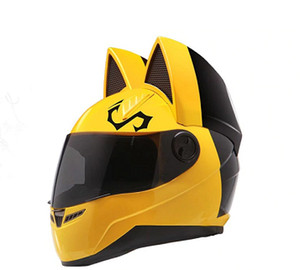 NITRINOS motorcycle helmet full face with cat ears yellow color Personality Cat Helmet Fashion Motorbike Helmet size M  L XL  XXL