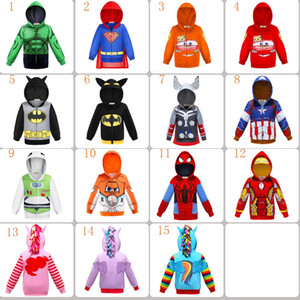 Wholesale 15 Style Kids Clothing Hoodies Boy Girl ironman spiderman Unicorn kid girl's boys cartoon hoodies children outwear coat Halloween Cosplay