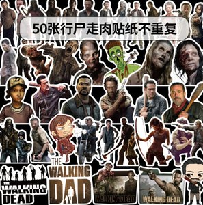50pcs lot Mixed Car Stickers Walking dead Movie For Laptop Helmet Skateboard Stickers Pad Bicycle Motorcycle PS4 Phone Notebook Decal Pvc