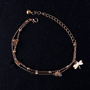 15 Styles 2019 Bohemian Anklet Bracelet Beach Ankle Butterfly Dragonfly Leaf Rose Anklets Adjustable Foot Chain Women Jewelry Gift M043F