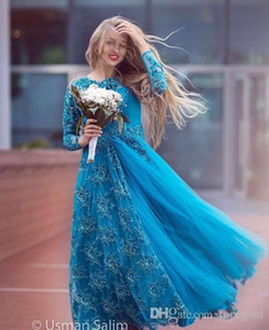 2020 Turquoise Long Sleeve Bridal Evening Dresses Sparkly Beading Tulle Lace Crew Neck Plus Size Mother of the Bride Dress Arabic Prom Gowns on Sale
