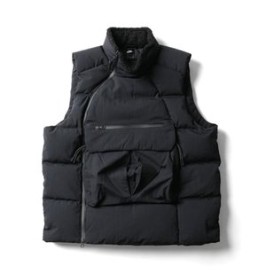 Wholesale Mens Down Vest Sports Brand Designer Winter Turtle Neck Velvet Warm Coat Jacket Sideway Zip Sweatshirt Sleeveless Top B101160L