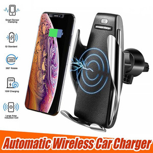 Air Vent Phone Holder 360 Degree Rotation 10W Fast Charging S5 10W car Wireless Charger Smart sensor with Box