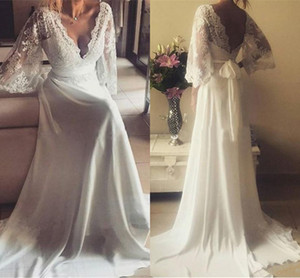Wholesale Elegant Juliet Lace Long Sleeves Wedding Dresses V neck Chiffon Ruched Floor Length Country Boho Wedding Dress Bridal Gowns Cheap