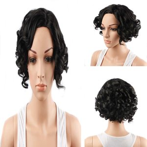 Wholesale Synthetic Wig Short Curly g Piece Natural Hairline Heat Resistant Fiber Natural Black Color inches