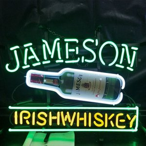 Wholesale JAMESON IRISH WHISKEY Beer Led Glass Tube Neon Signs Lamp Lights Advertising Display Bar Decoration Sign Metal Frame