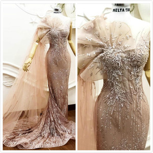 Wholesale 2019 Aso Ebi Arabic Sparky Sexy Mermaid Evening Dresses Lace Beaded Sheer Neck Prom Dresses Vintage Formal Party Bridesmaid Pageant Gowns