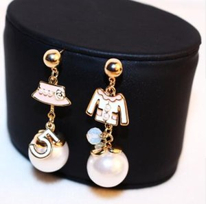 Women Irregular Hat Coat Earring Real Rose Gold Anti-Allergy Letter 5 Earring Female Party Fine Pearl Earring