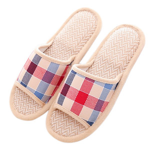 Wholesale SHUJIN Natural Flax Home Slippers Indoor Floor Shoes Silent Sweat Slippers For Summer Women Sandals