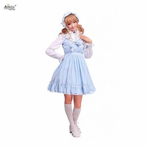 Wholesale Ainclu XS To XXL Cemavin Womens Cotton Blue White Gingham Check School Lolita Dress for Adults four Seasons